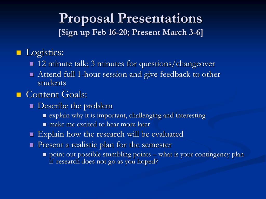 Proposal Presentations