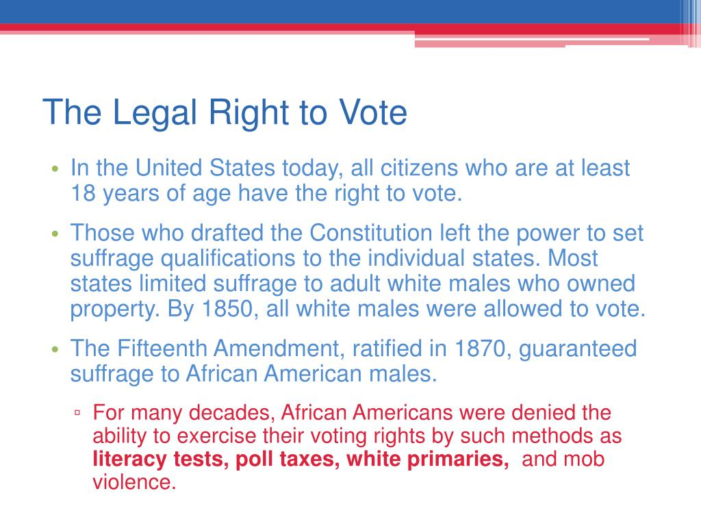 The Legal Right to Vote