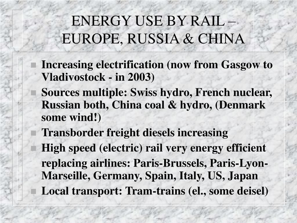 ENERGY USE BY RAIL