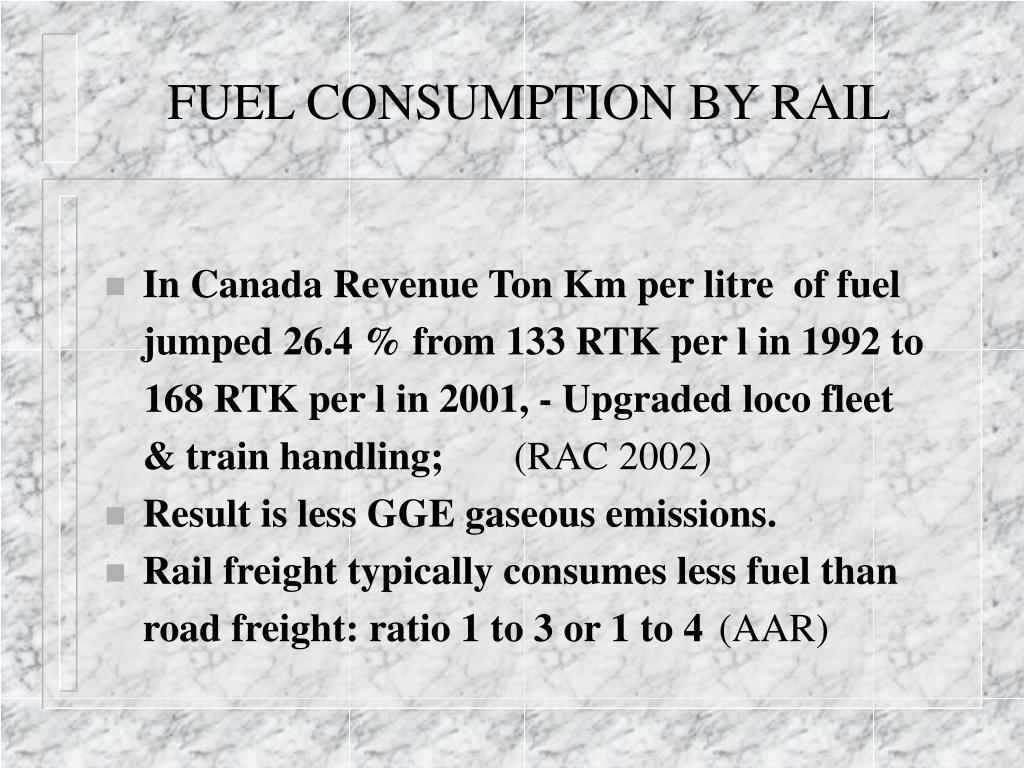 FUEL CONSUMPTION BY RAIL