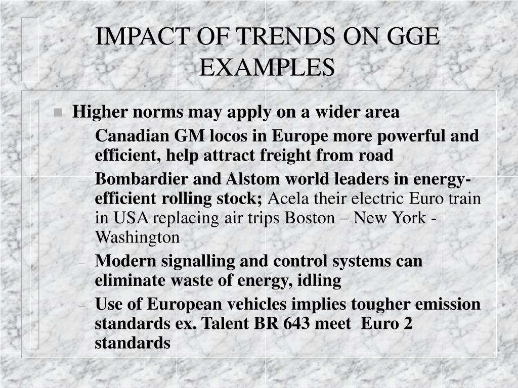IMPACT OF TRENDS ON GGE