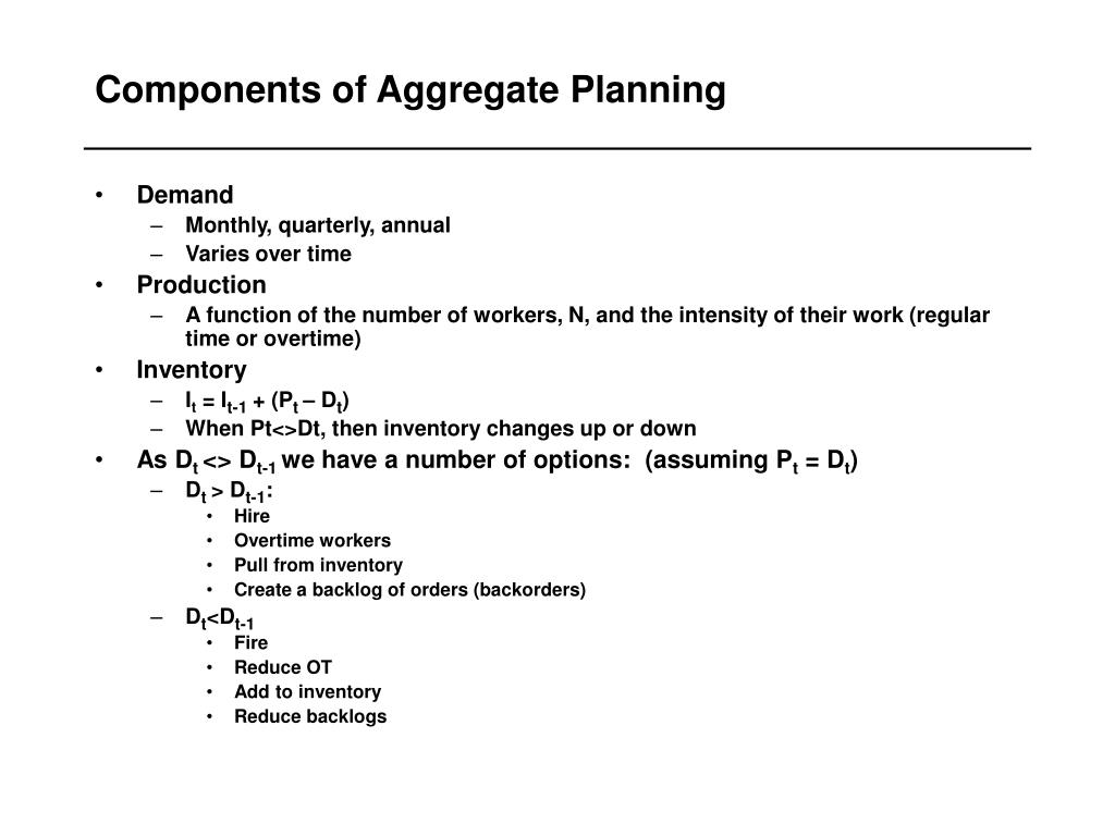 Components of Aggregate Planning