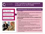 cqc s guidance about compliance example of an outcome