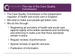 the role of the care quality commission