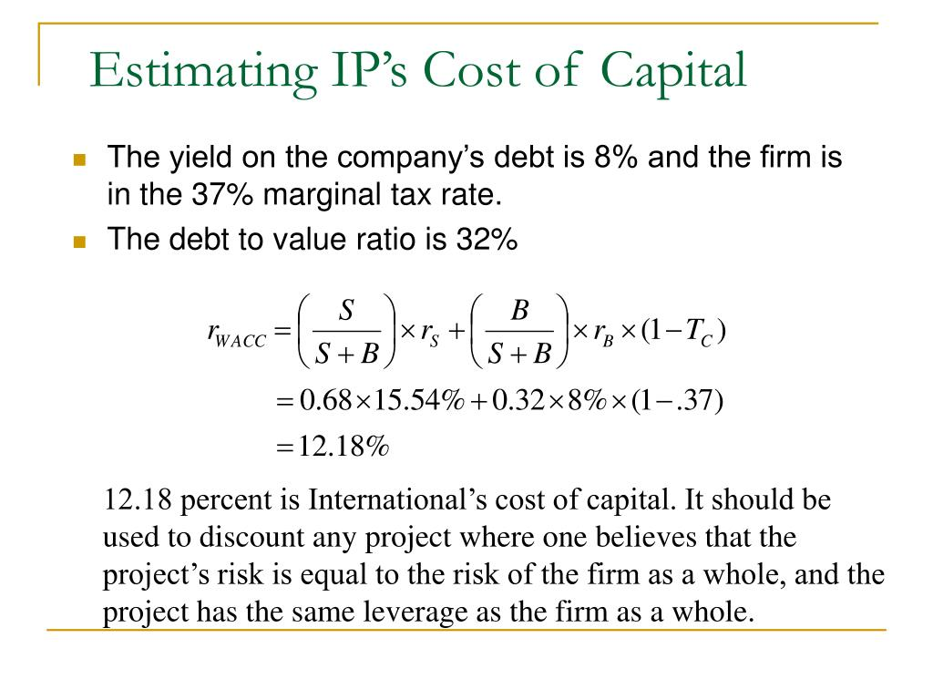 Estimating IP's Cost of Capital