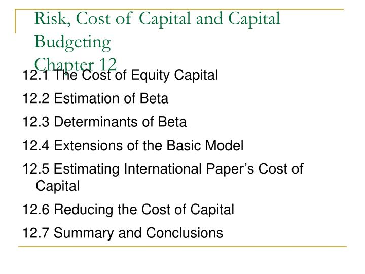 Risk cost of capital and capital budgeting chapter 12