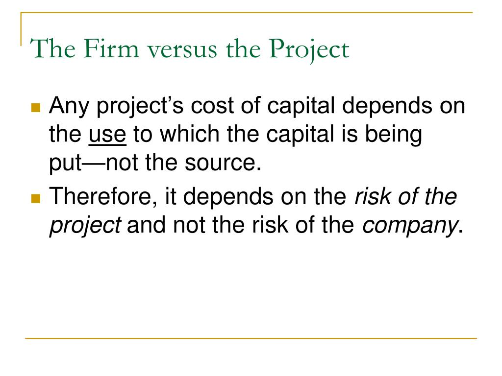 The Firm versus the Project