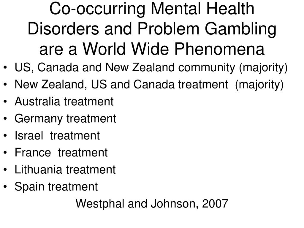 Co-occurring Mental Health Disorders and Problem Gambling are a World Wide Phenomena