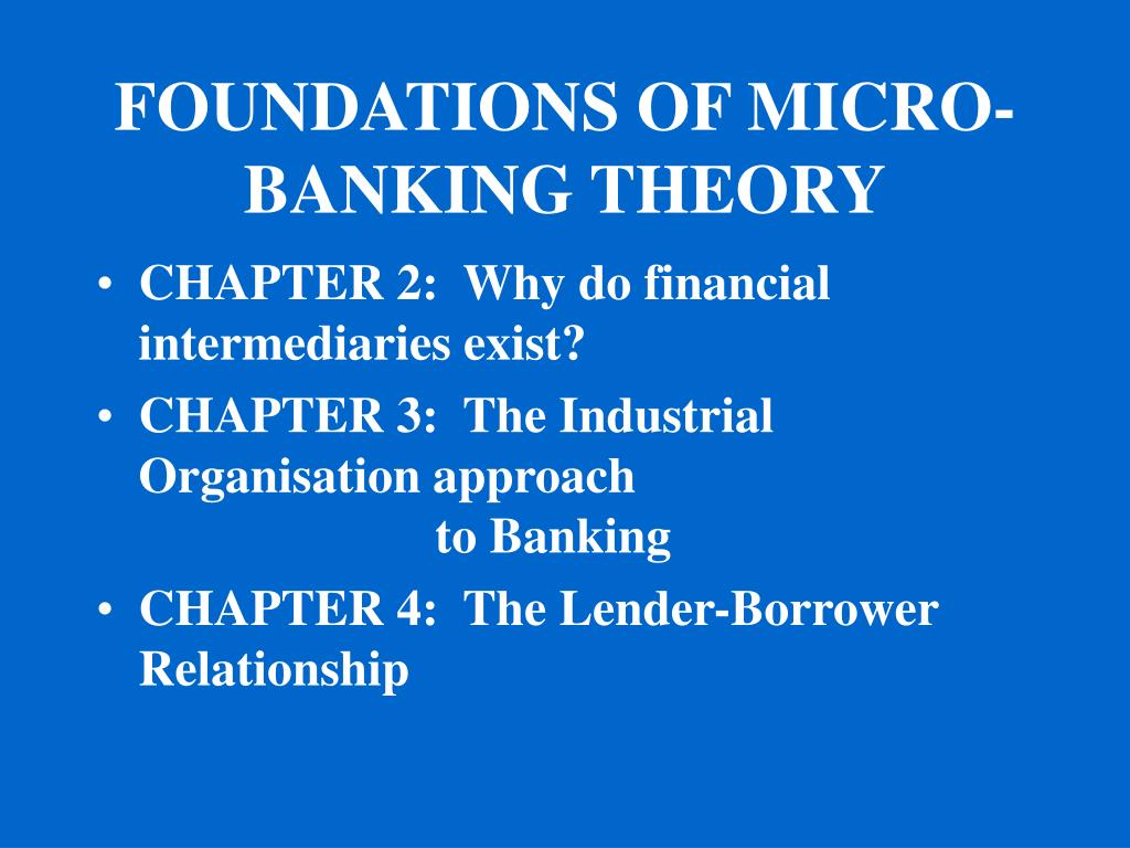 FOUNDATIONS OF MICRO-BANKING THEORY