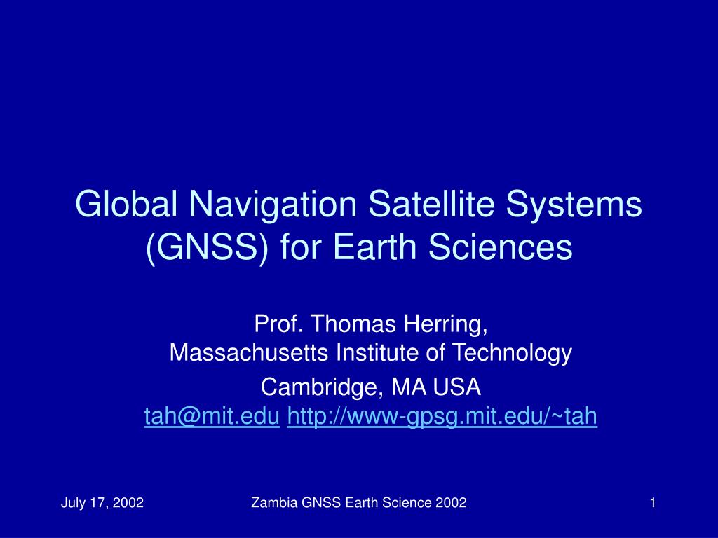 global navigation satellite systems gnss for earth sciences l.