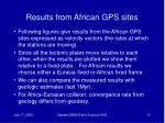 results from african gps sites