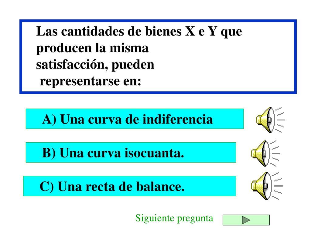 Las cantidades de bienes X e Y que producen la misma