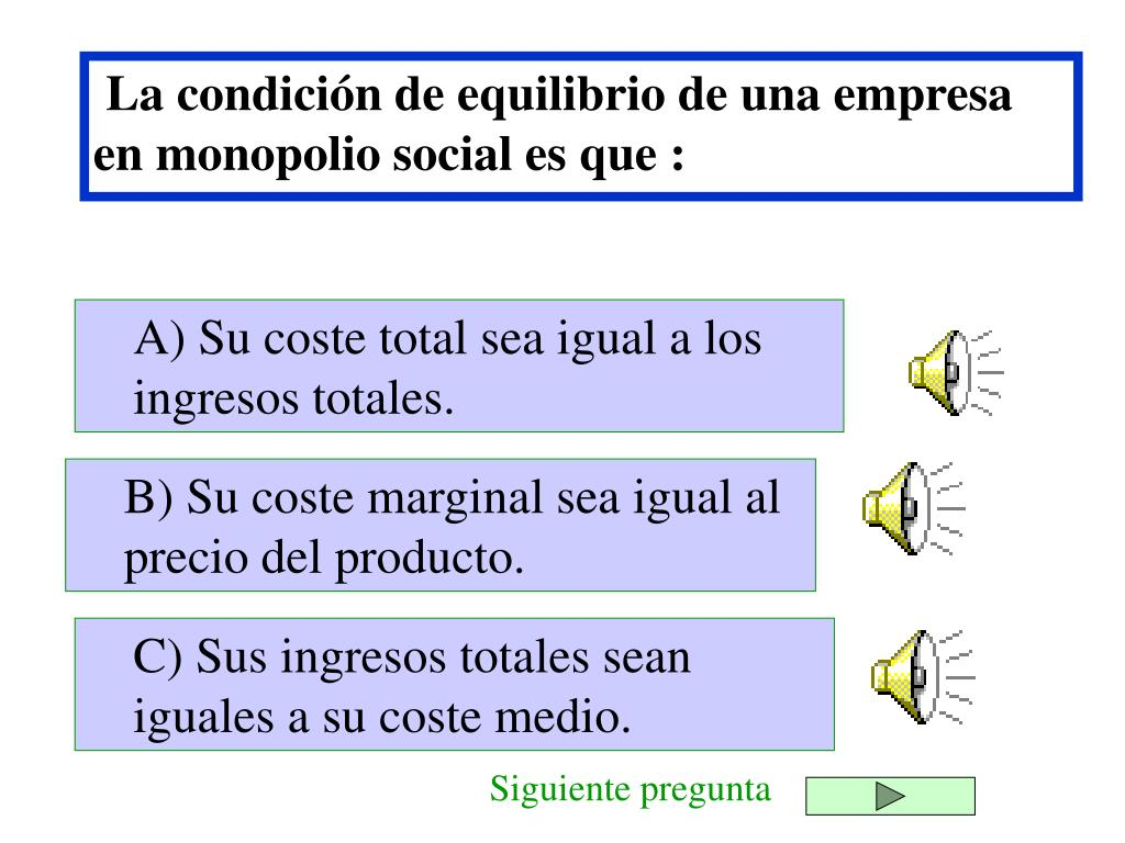 La condición de equilibrio de una empresa en monopolio social es que :