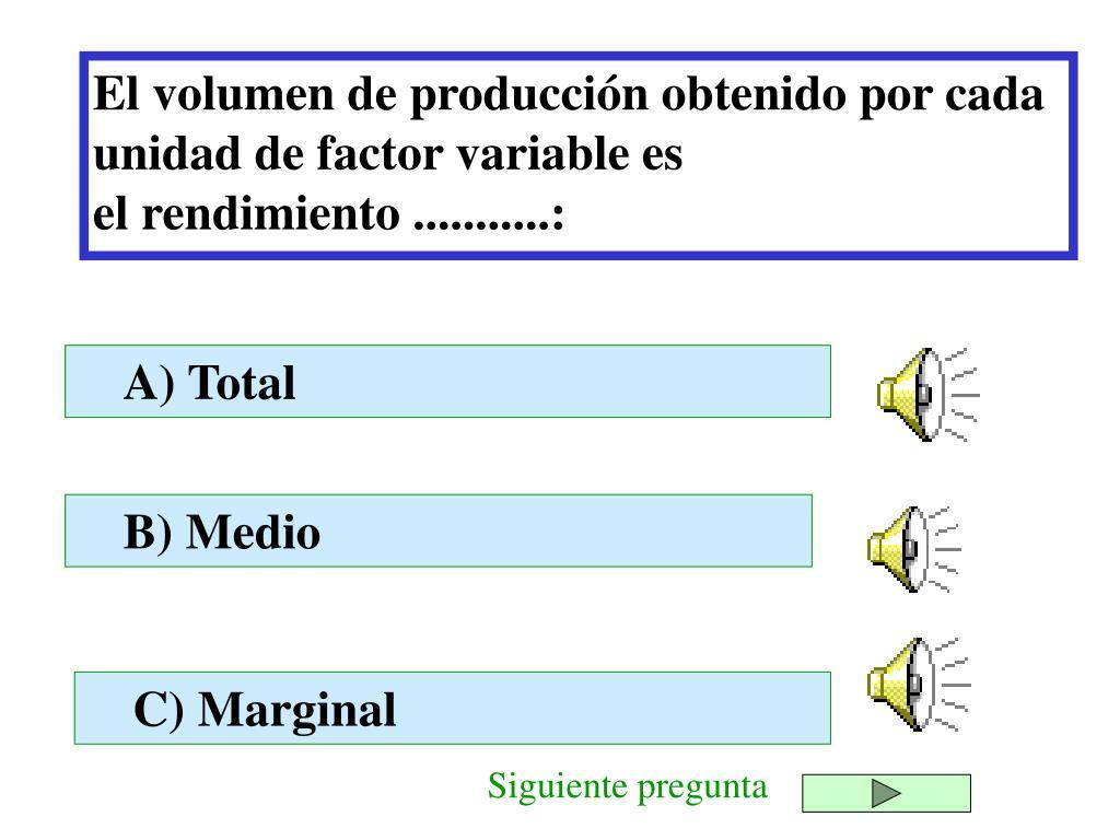 El volumen de producción obtenido por cada unidad de factor variable es