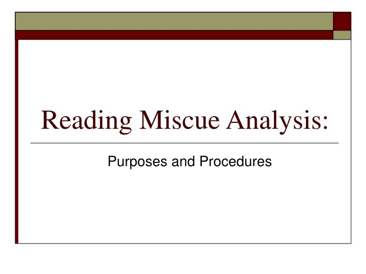reading miscue analysis n.