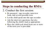 steps in conducting the rma11