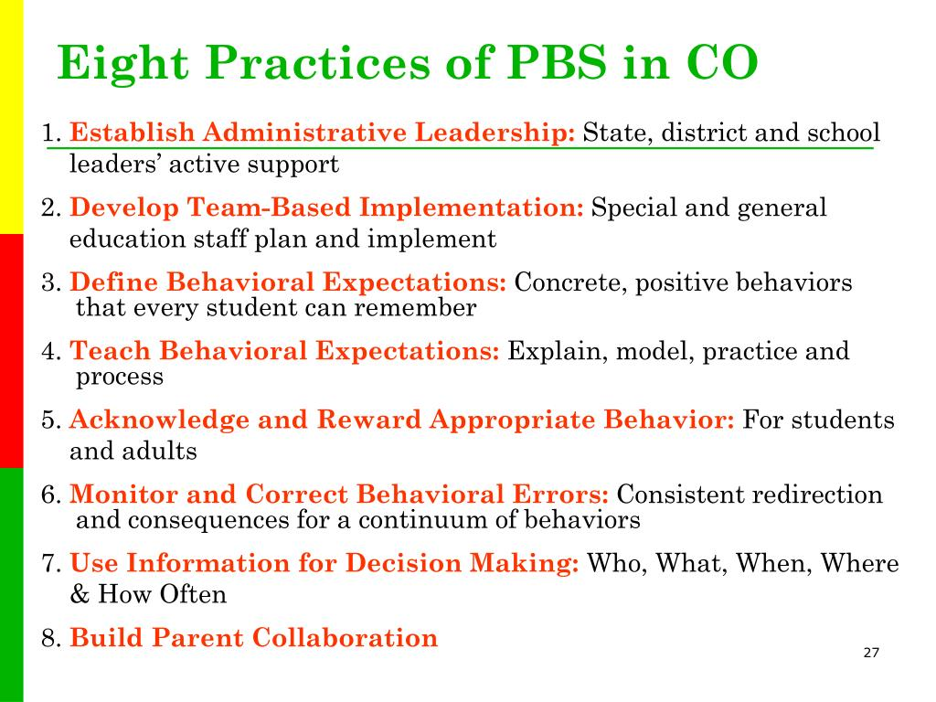 Eight Practices of PBS in CO