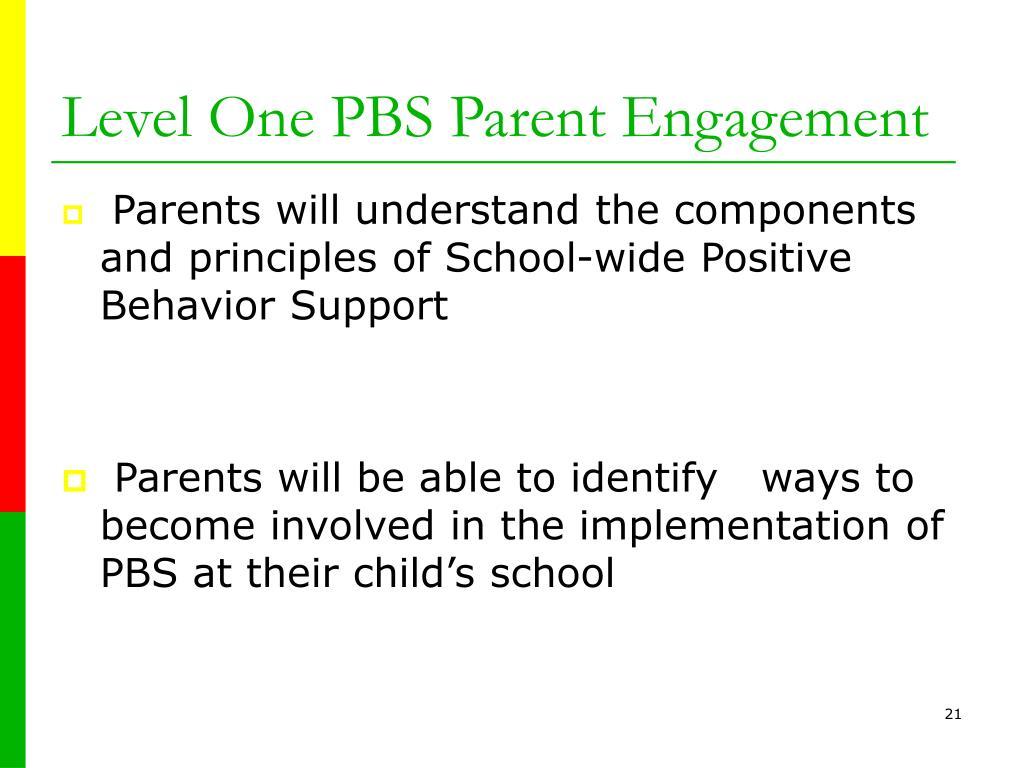 Level One PBS Parent Engagement