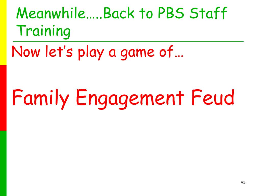 Meanwhile…..Back to PBS Staff Training