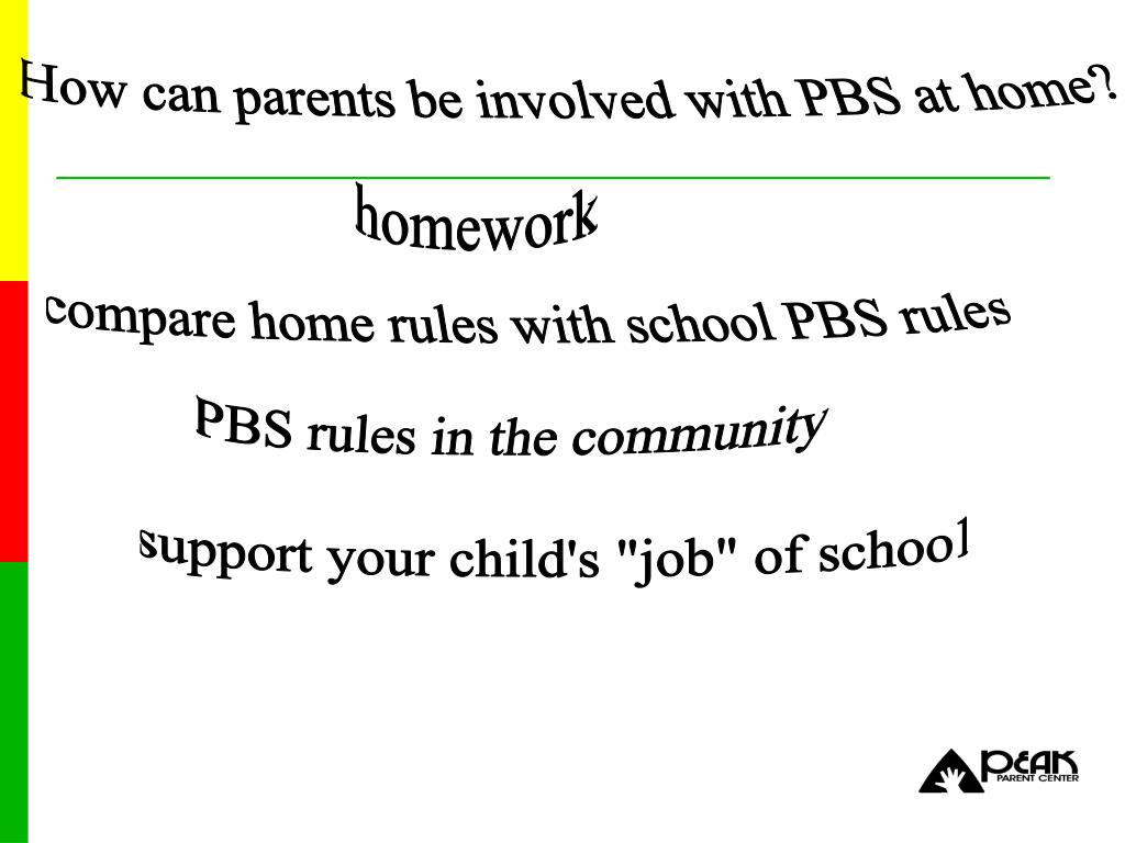 How can parents be involved with PBS at home?
