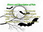 history and description of pain