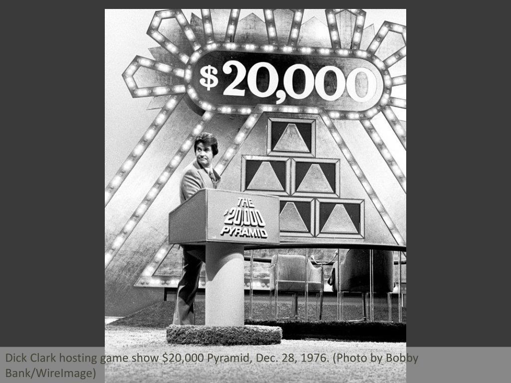 Dick Clark hosting game show $20,000 Pyramid, Dec. 28, 1976. (Photo by Bobby Bank/WireImage)
