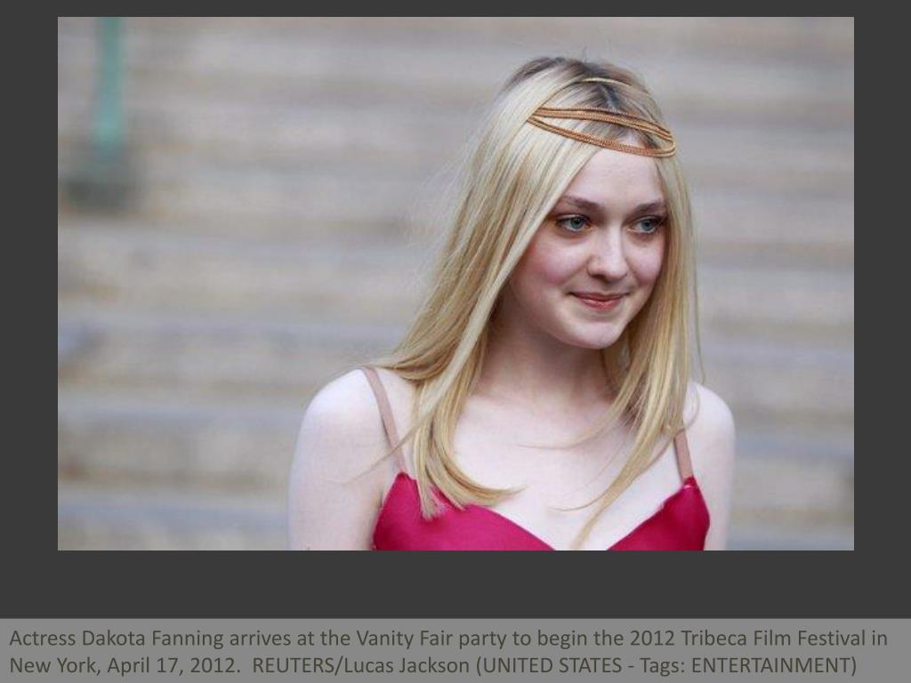 Actress Dakota Fanning arrives at the Vanity Fair party to begin the 2012 Tribeca Film Festival in New York, April 17, 2012.  REUTERS/Lucas Jackson (UNITED STATES - Tags: ENTERTAINMENT)