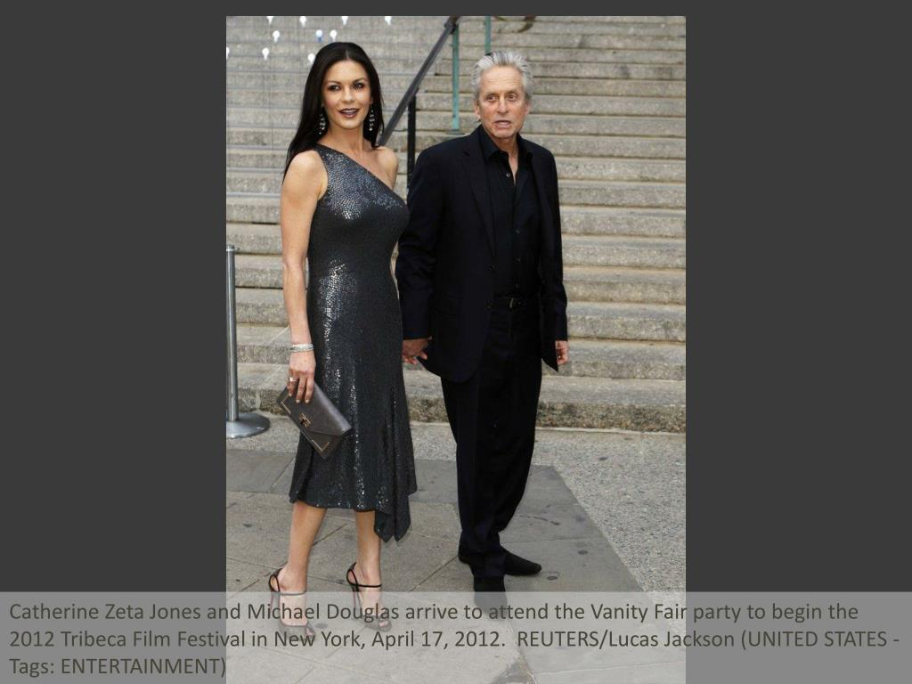 Catherine Zeta Jones and Michael Douglas arrive to attend the Vanity Fair party to begin the 2012 Tribeca Film Festival in New York, April 17, 2012.  REUTERS/Lucas Jackson (UNITED STATES - Tags: ENTERTAINMENT)
