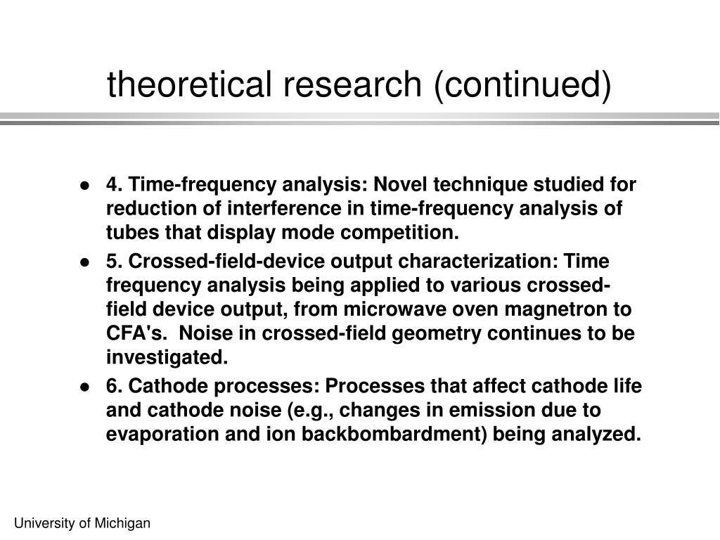 theoretical research (continued)