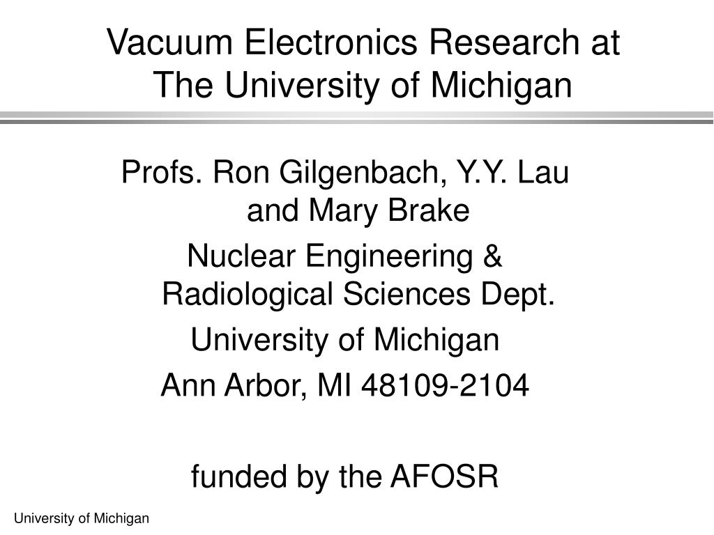 Vacuum Electronics Research at