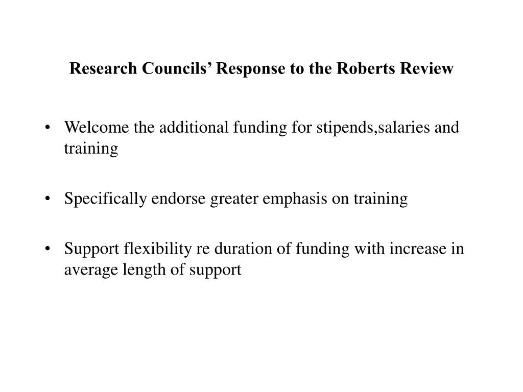 Research Councils' Response to the Roberts Review