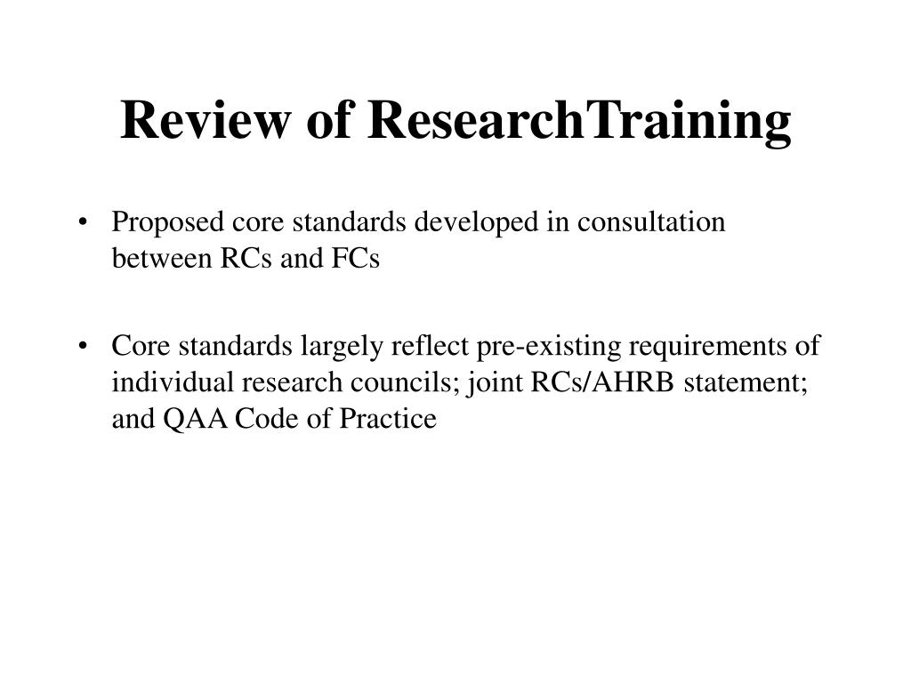Review of ResearchTraining