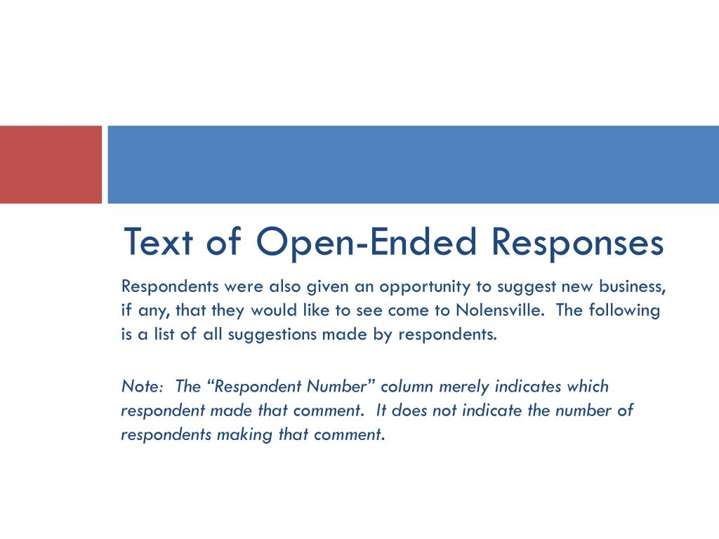 Text of Open-Ended Responses
