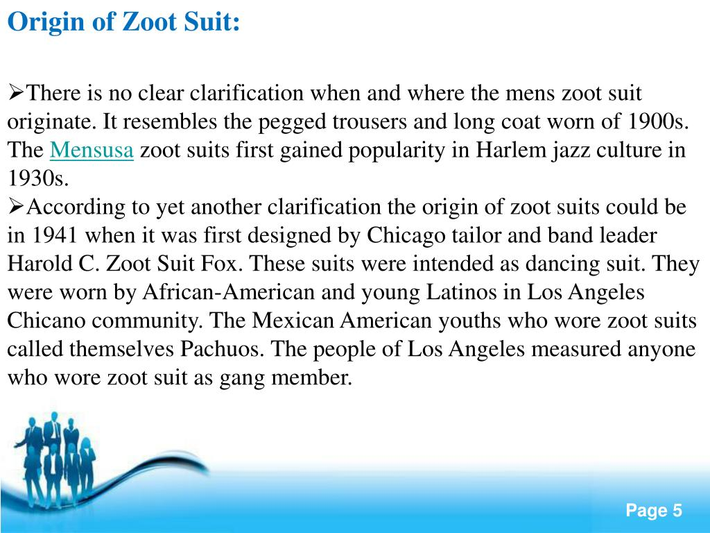Origin of Zoot Suit: