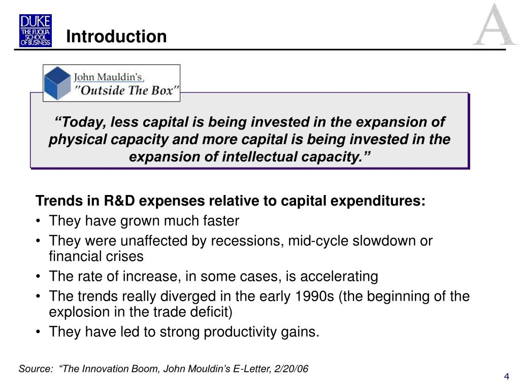 Trends in R&D expenses relative to capital expenditures: