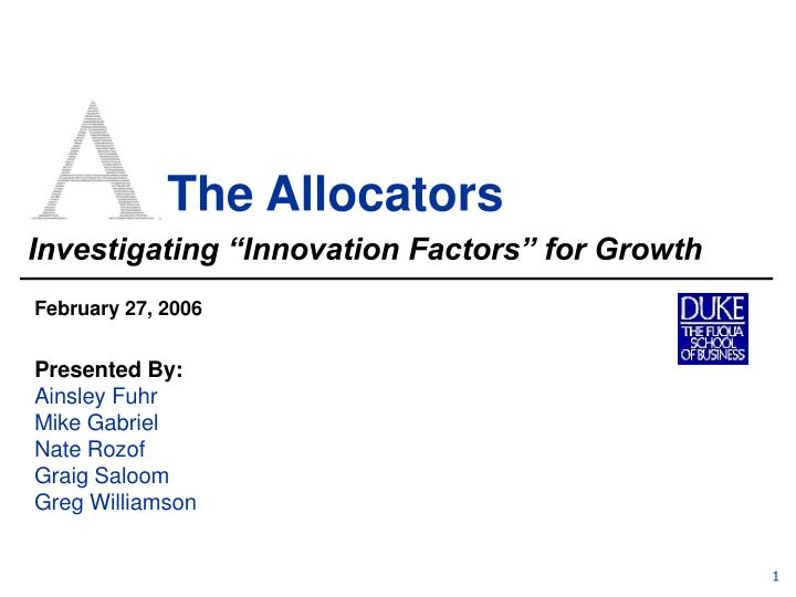 The allocators