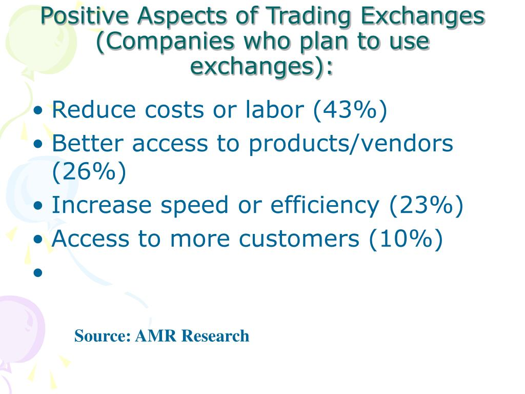 Positive Aspects of Trading Exchanges (Companies who plan to use exchanges):