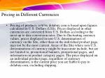 pricing in different currencies