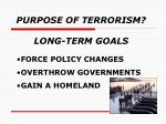 purpose of terrorism long term goals