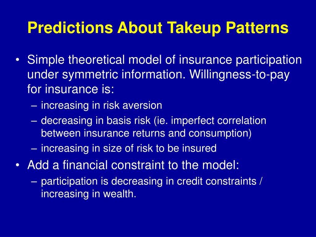 Predictions About Takeup Patterns