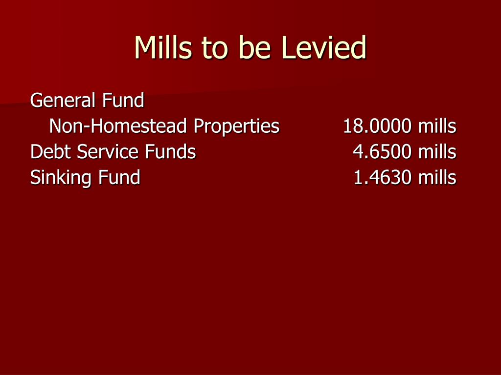 Mills to be Levied