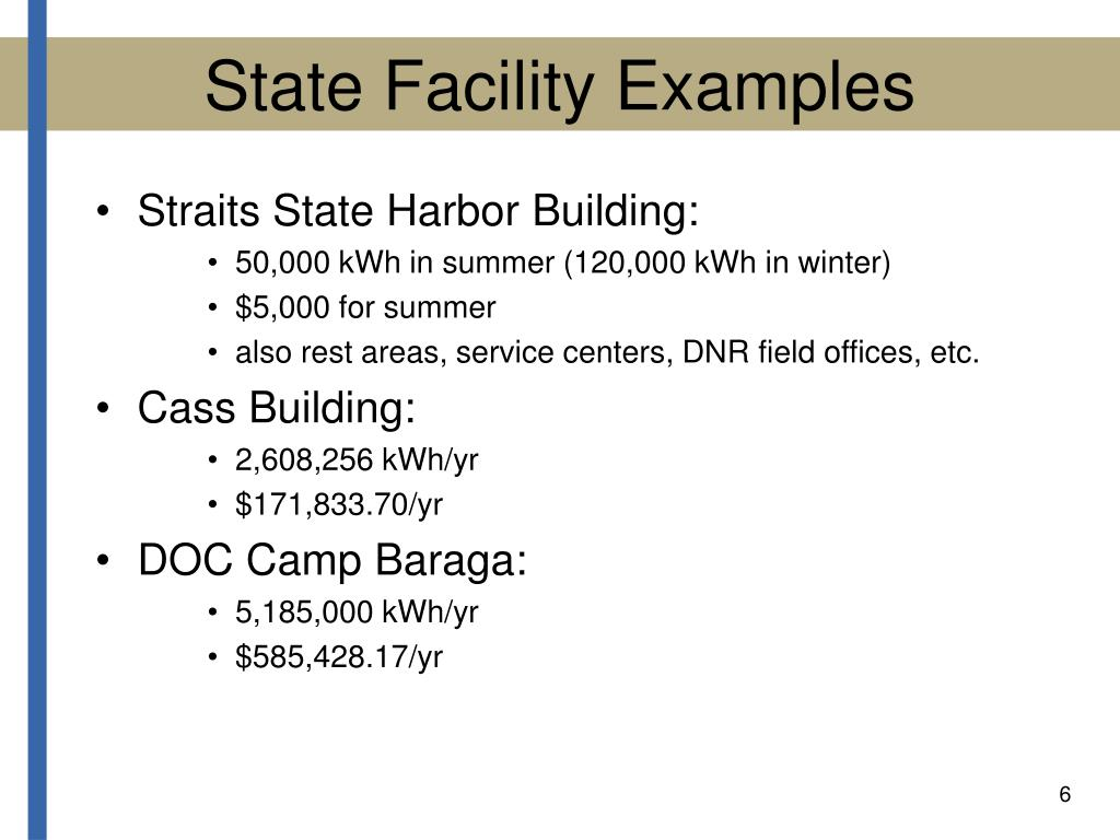 State Facility Examples