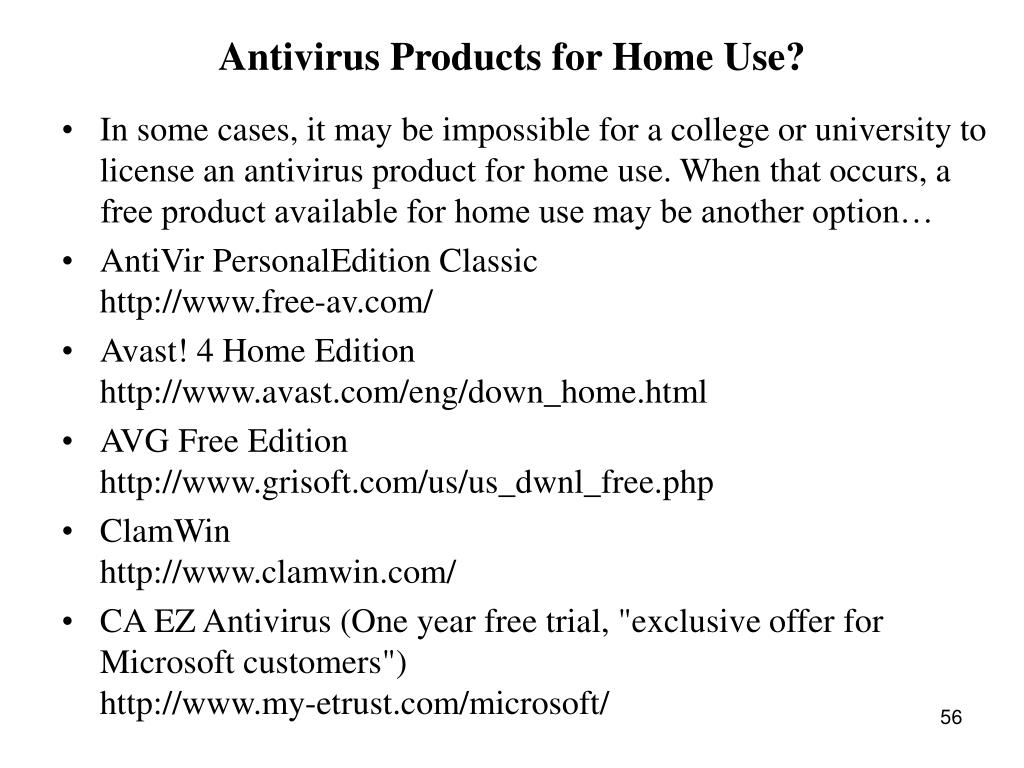 Antivirus Products for Home Use?