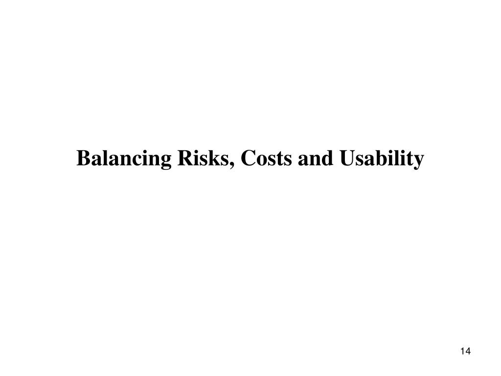 Balancing Risks, Costs and Usability