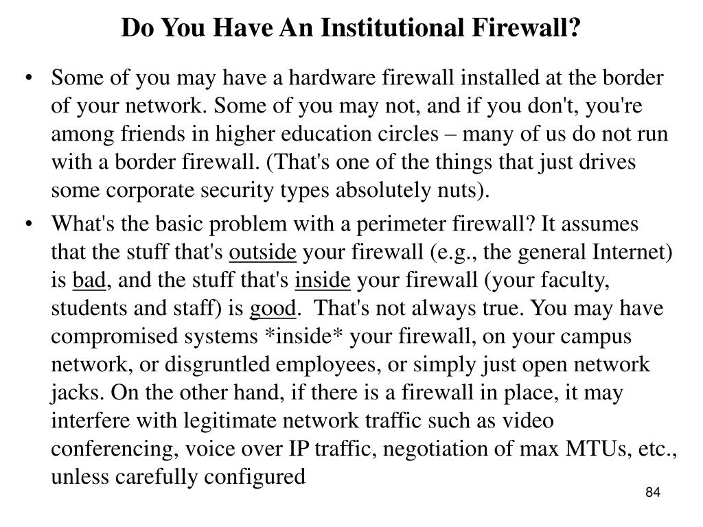 Do You Have An Institutional Firewall?