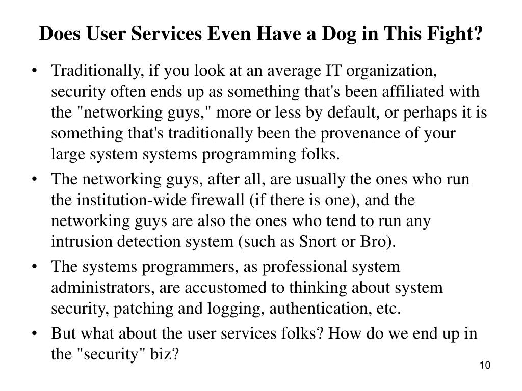 Does User Services Even Have a Dog in This Fight?