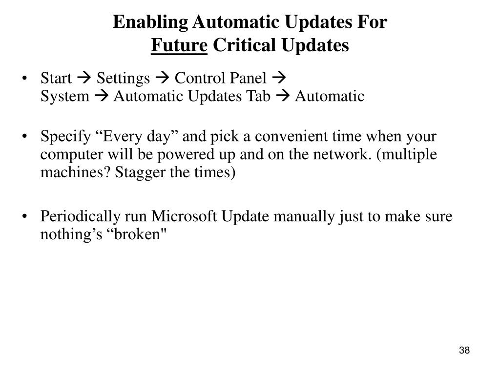 Enabling Automatic Updates For