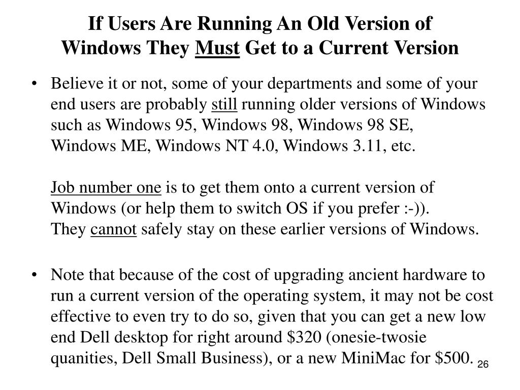 If Users Are Running An Old Version of