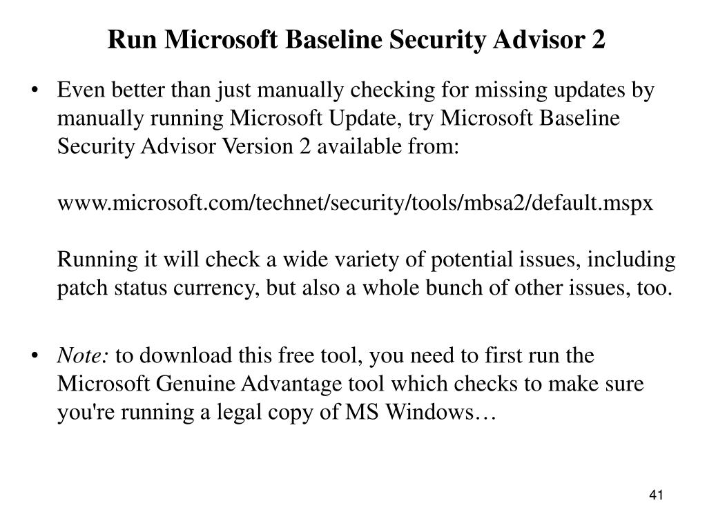 Run Microsoft Baseline Security Advisor 2