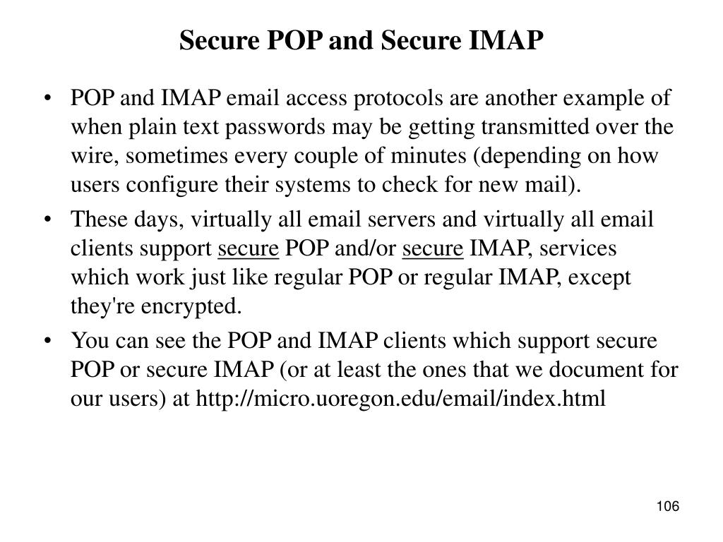 Secure POP and Secure IMAP